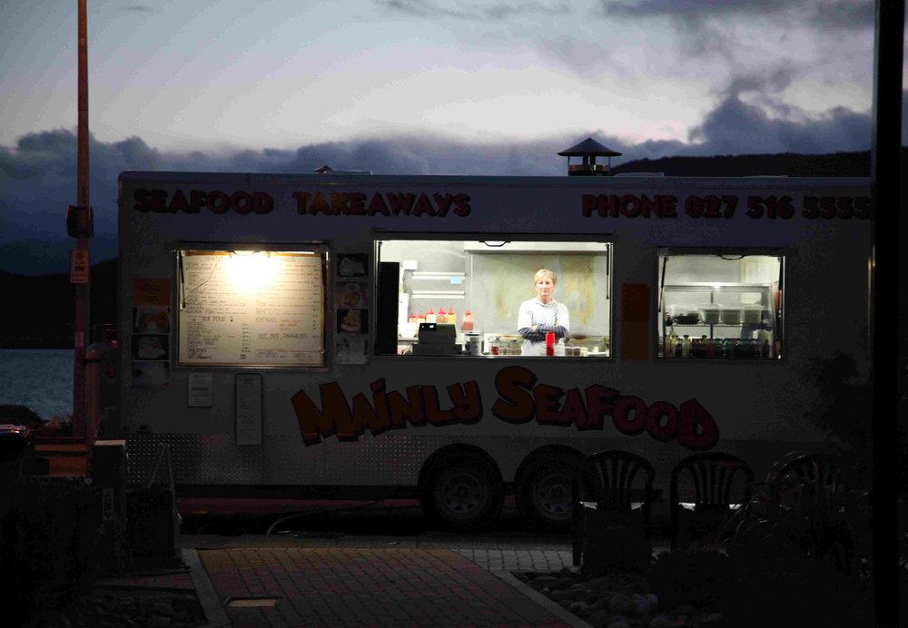 New Zealand beach diner at night