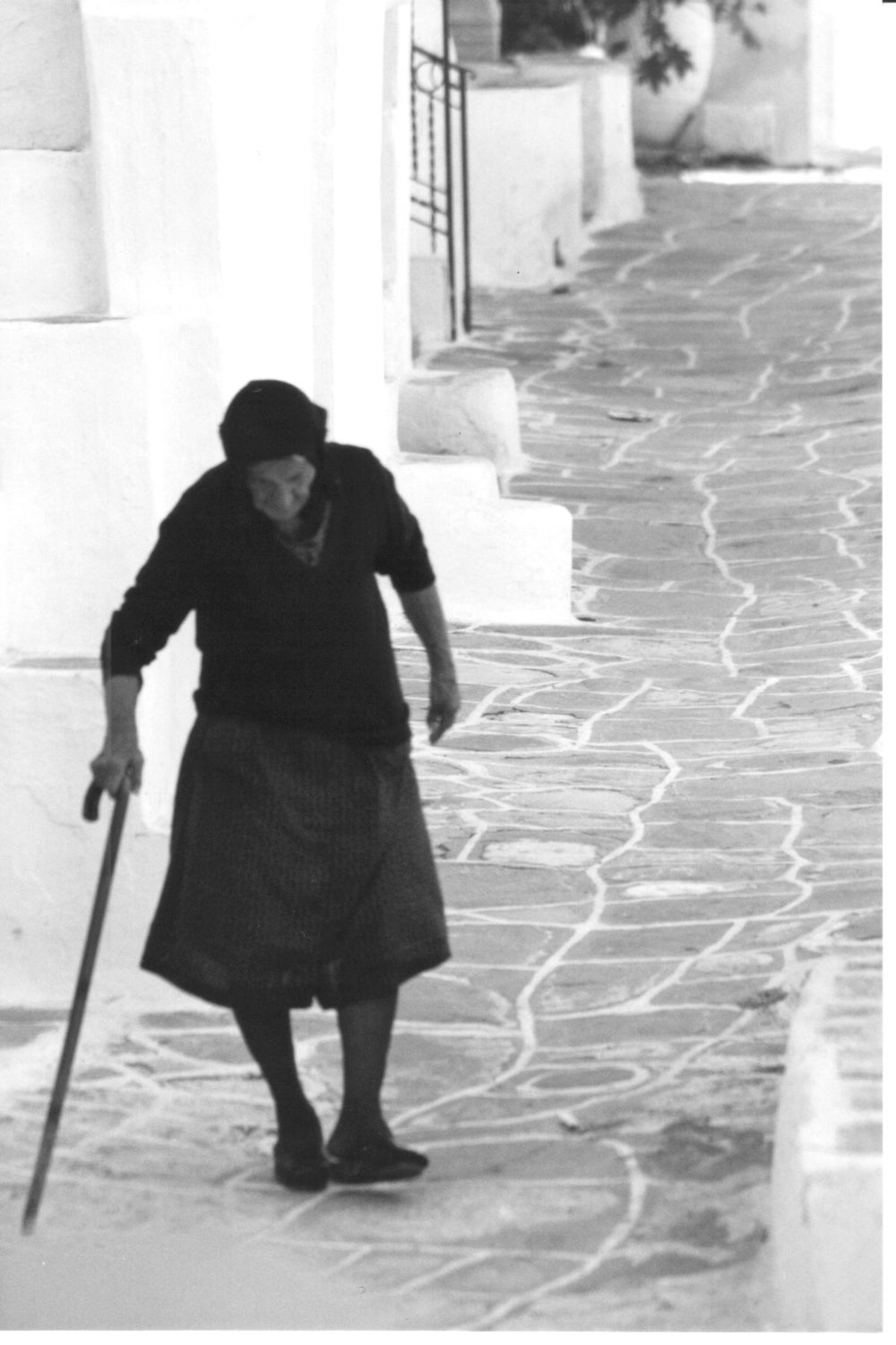 Greek woman with cane