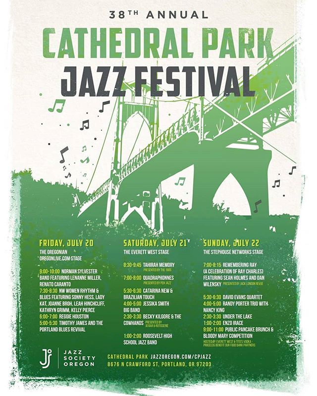 See the full CPJF line-up here. This festival is Free! #jazz #jazzfestival #cathedralparkjazzfestival #cathedralpark #free #freemusic #summer #thebridge #livemusicisbest