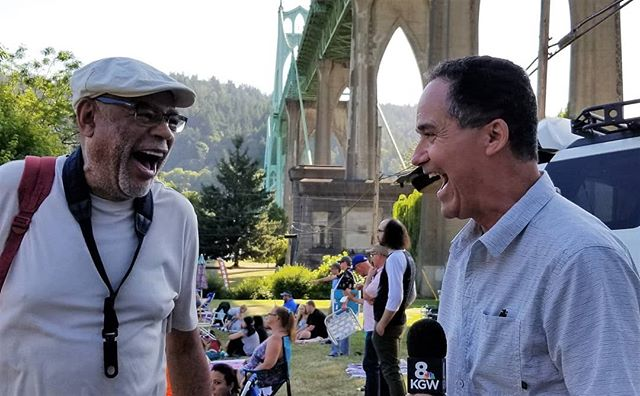 The incomparable Reggie Houston shares a laugh with KGW TVs Chief Meteorologist Matt Zaffino before his set on Friday evening at the CPJF. #Jazz #CPJF #CATHEDRALPARK #CATHEDRALPARKJAZZ #livemusicisbest