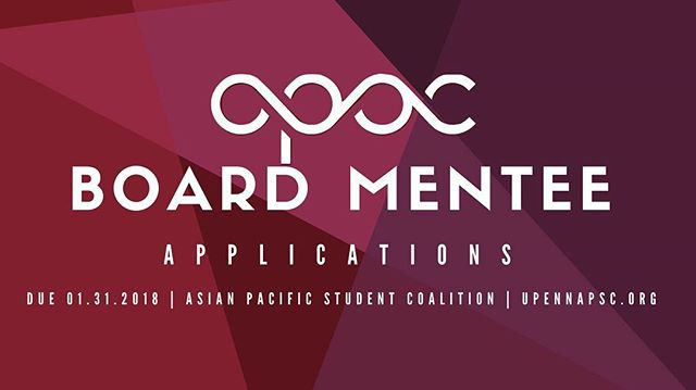 Hi y'all! Want to become more involved on campus? Interested in learning more about issues in the API community as well as helping to make change? Well then apply to the APSC Board Mentee Program and prepare to work with the board of the Asian Pacific Student Coalition to build community, solve problems, and enact change. Details are below, and thank you for your interest! Application: https://docs.google.com/document/d/18rZds44vEFLBLKxiTv6I9_BmFu_6UqDxt_3rtMbRj8E/edit?usp=sharing Deadline: 01/31/18 11:59PM  Please submit to: board@upennapsc.org And please feel free to message me if you have any questions or concerns 😀. GO BIRDS