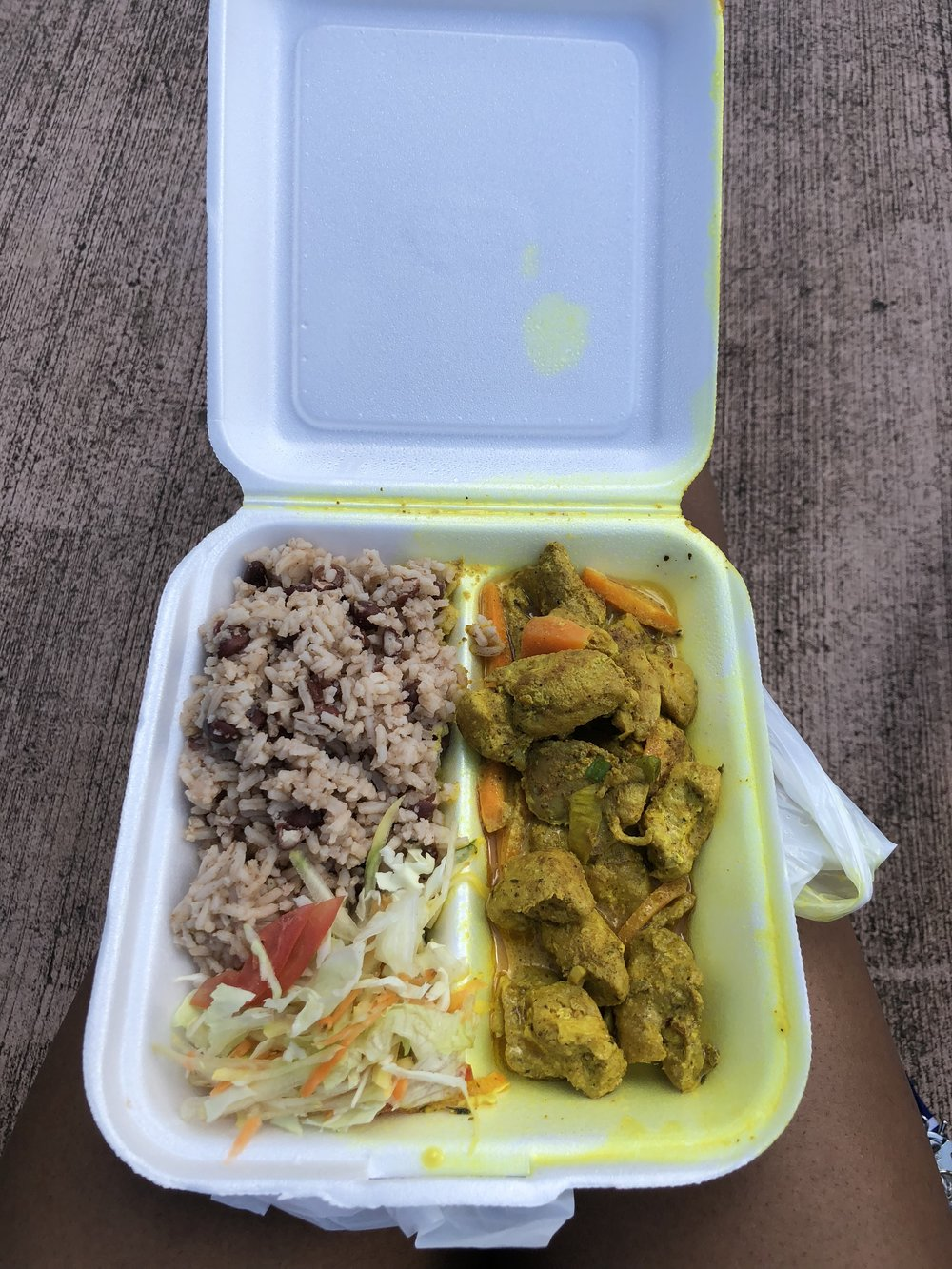 Authentic Jamaican food!!! Coconut curry chicken with beans and rice and cabbage