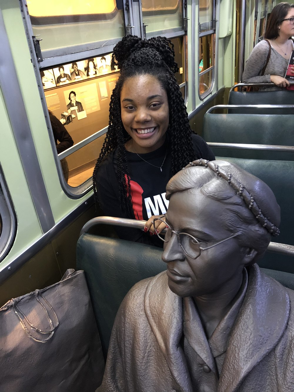 One of the exhibits that shows the bus where Rosa Parks refused to give up her seat to a white man