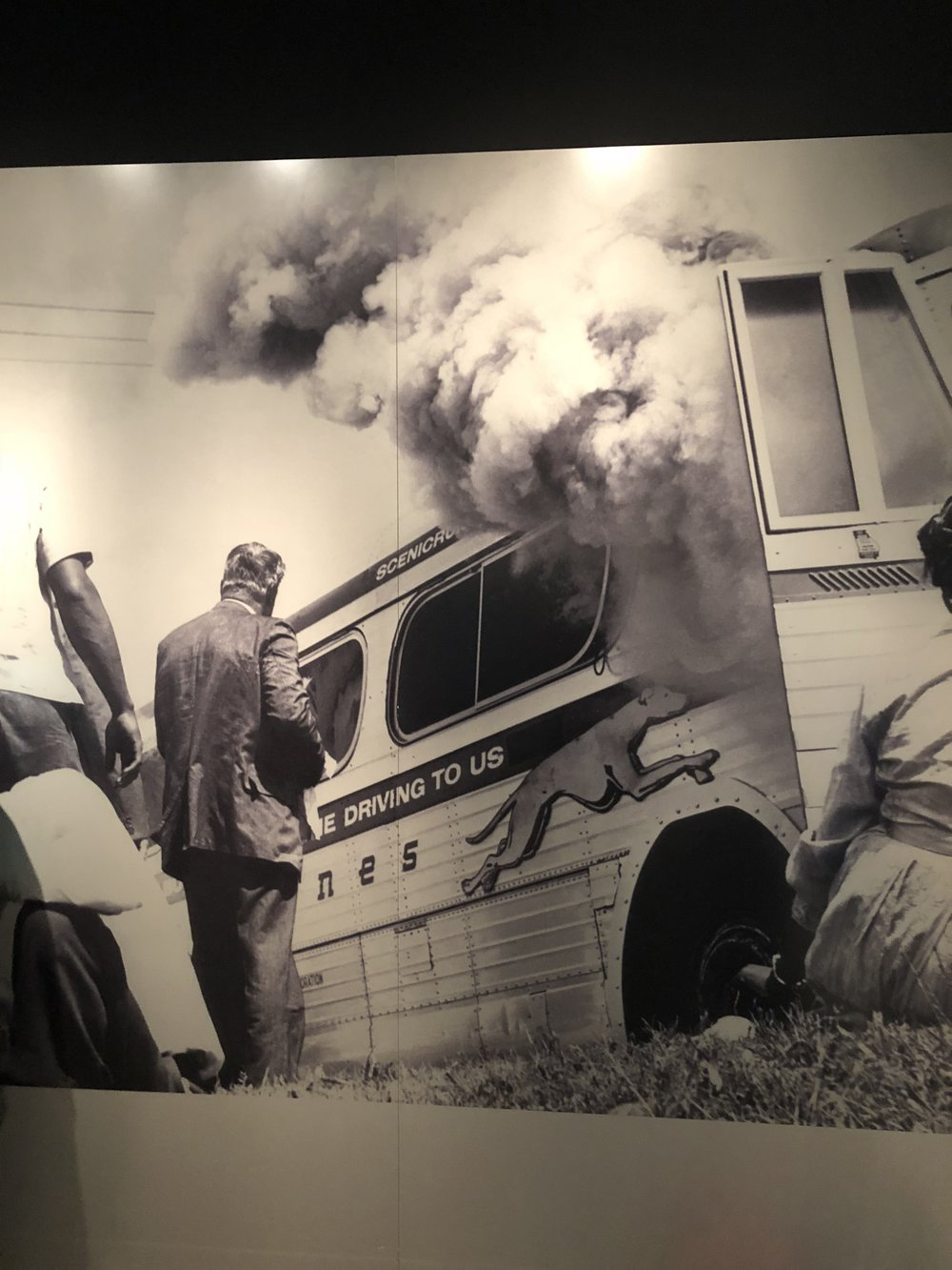 Image of the bus being burned
