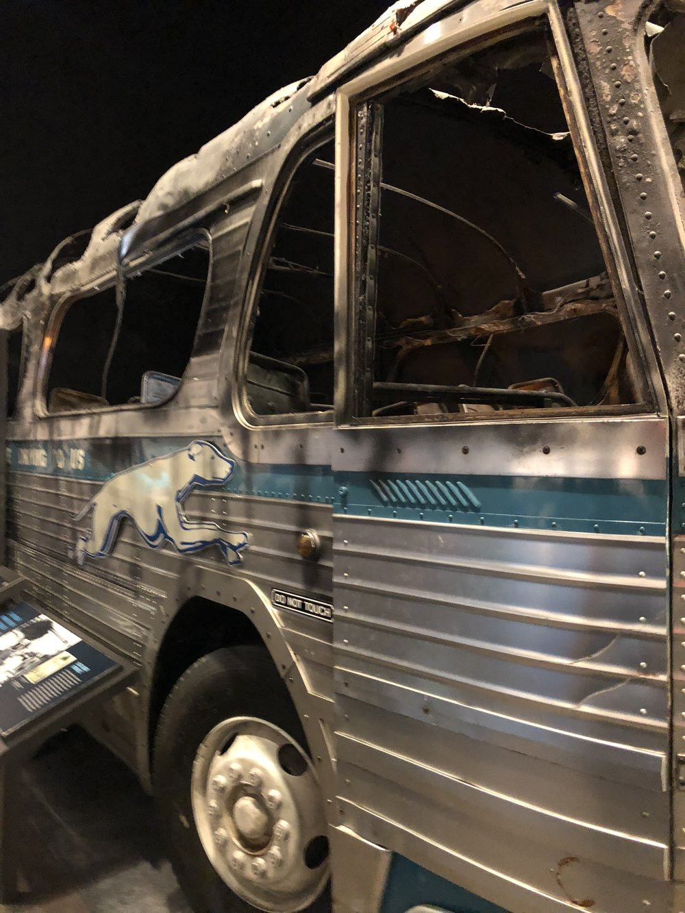 The actual bus that got burned during the Civil Rights Movement as part of the bus boycott