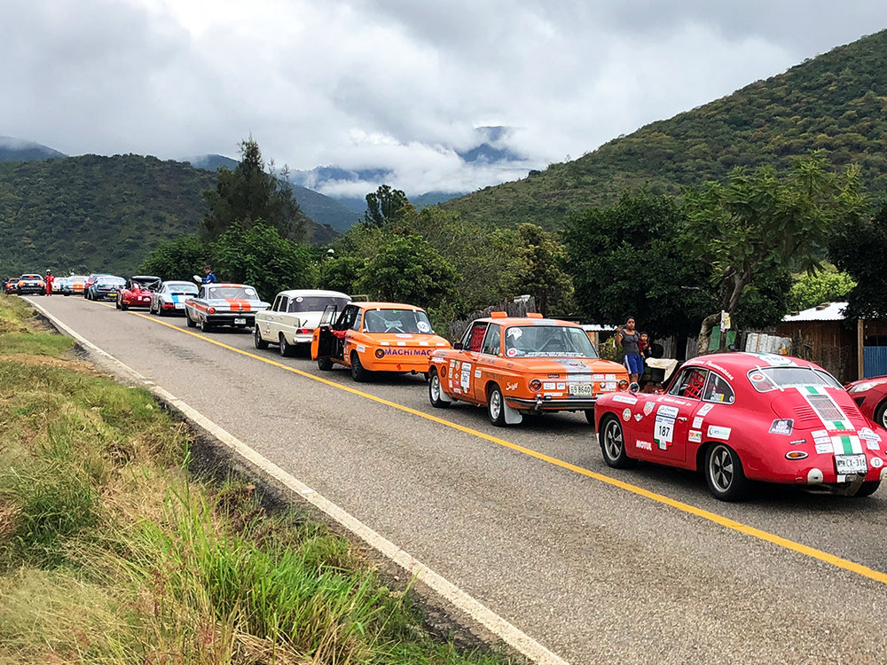 Cars line up waiting to start the Oaxaca speed section of La Carrera Panamericana 2018.