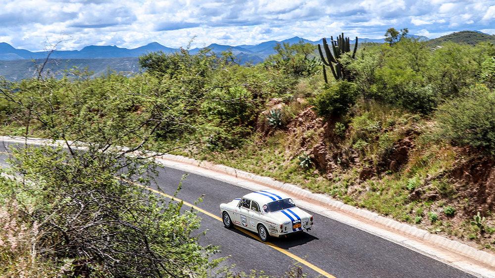 Our Volvo Amazon stage heading to Mexico City in La Carrera Panamericana | Photo by  Godet Studio