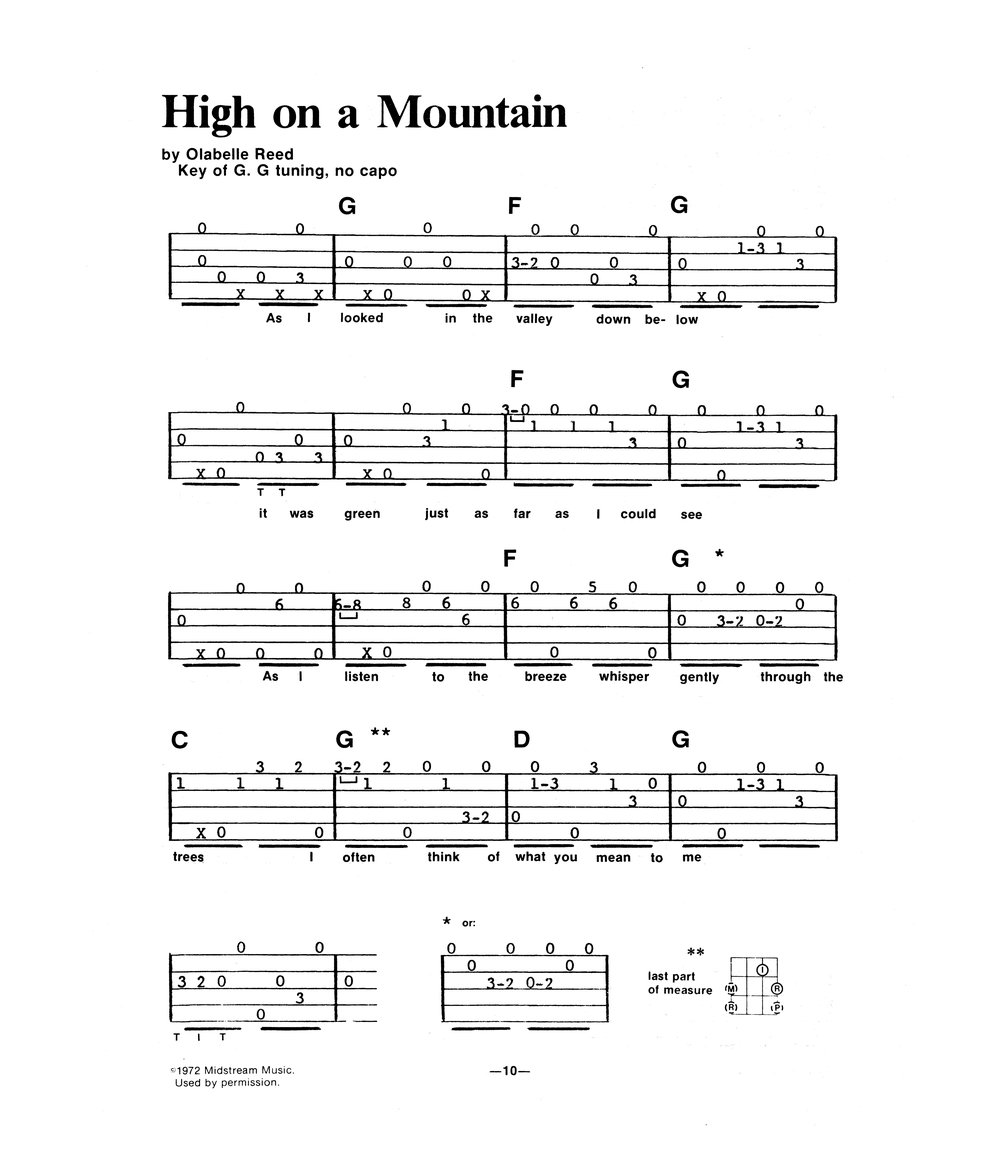 "Banjo Tablature for Pete's solo in ""High on a Mountain"""