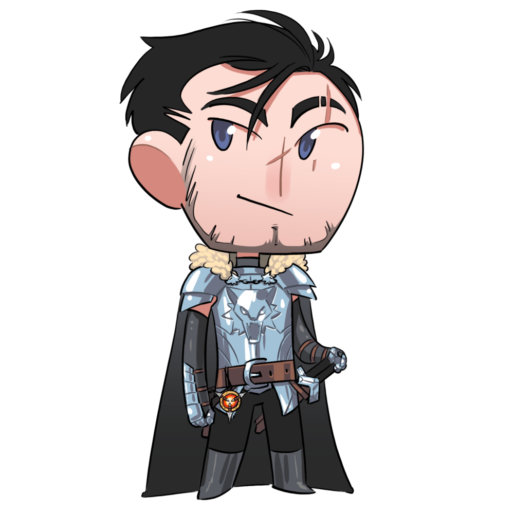 Garrett Hawke - A man with a tortured past, Garret Hawke has assumed the role of leadership within the party. As a Paladin, he took an Oath of Vengeance from the goddess Calistria, swearing to avenge the death of his family.