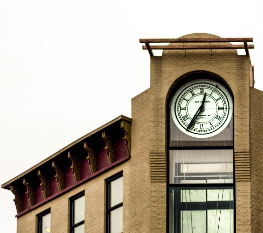 Photograph of A&W Clock in the clocktower building on Potomac Street, Hagerstown, MD by John Canan March 2018