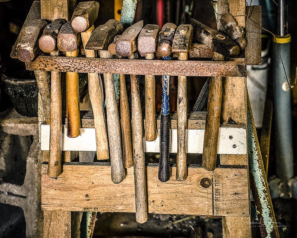 Blacksmith tools in Erin Aylor workshop