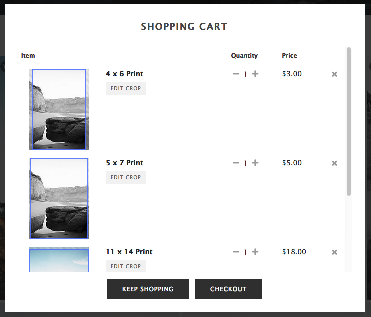 Shopping Cart - When viewing your Cart, select CHECKOUT when you're ready to place your order.