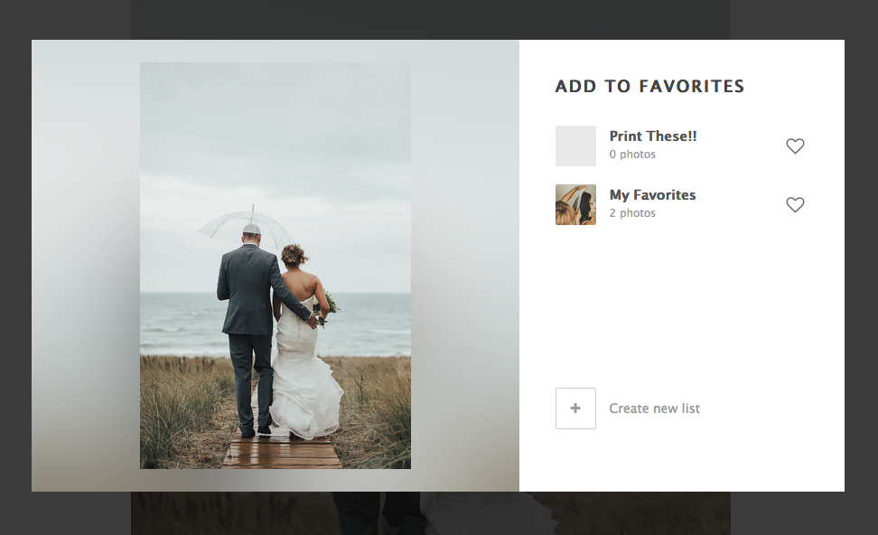 Adding Favorites to the New List.  - When you have more than one list created, you will now be able to select which list you want to label your new favorite photos under.When this box appears, choose the list to place your favorite image into with the favorite lists appearing on the right. This list is auto-saved.