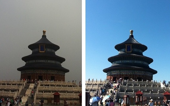 Two photographs of  The Hall of Prayer for Good Harvests (祈年殿) at the Temple of Heaven taken 48 hours apart last summer. Welcome to my world.
