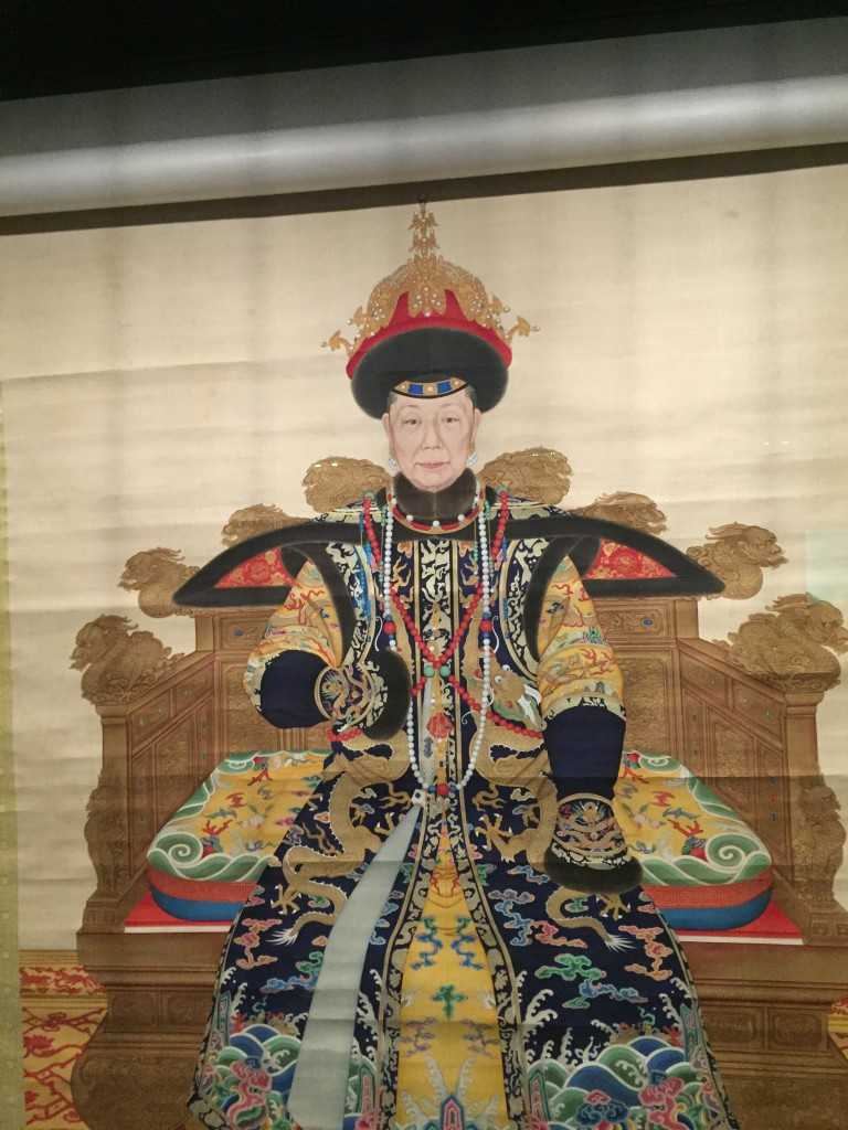 Painting on display at the Palace Museum of the Empress Dowager Chongqing (1693-1777), mother of the Qianlong Emperor.