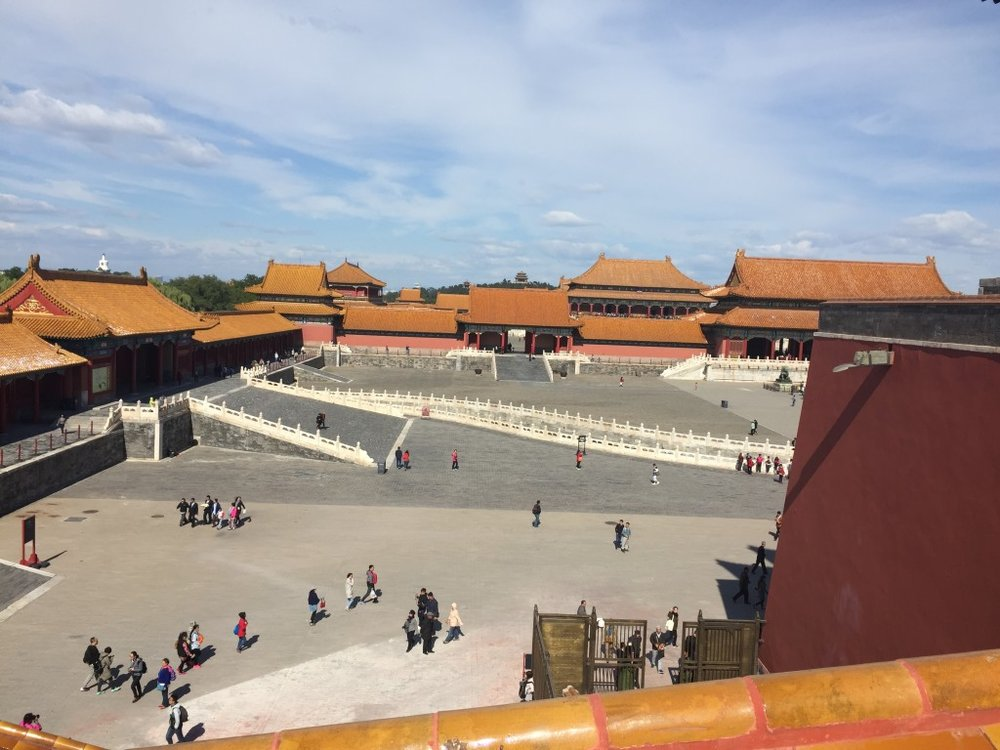 View from the newly re-opened top of Wu Men (the Meridian Gate) looking into the first plaza of the Forbidden City.