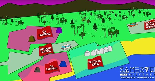"""This year we will be moving the festival and camping down to the sand! We also will be positioning the festival on """"Perris Beach"""" instead of """"Moreno Beach"""" where we were before. You can read more about it all on our blog at ssbdfest.com - in the meantime here's the new parking/camping map so you know where things are"""