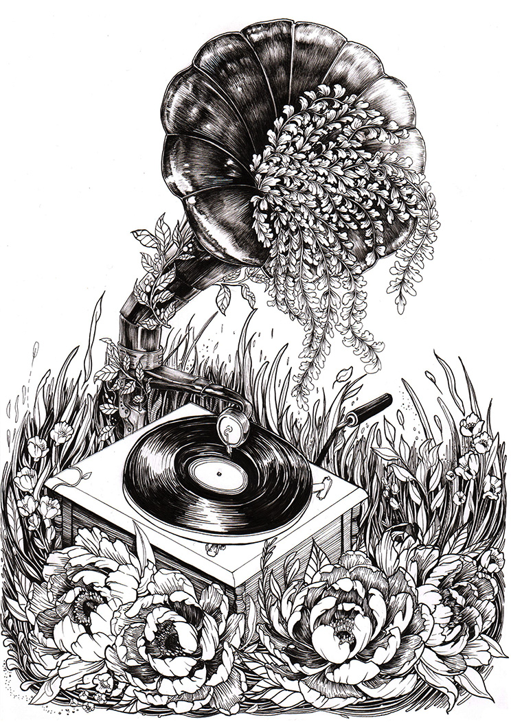 Gramaphone x Peonies Illustration