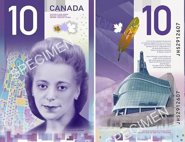 """Happy Black History Month ✊🏿💕 To kick off the month, we are highlighting one of the most prominent black Canadians, Viola Desmond, now the first Canadian Woman represented on a Canadian Bank Note. In 1946, Viola, a successful businesswoman was dragged out of a movie theatre by police and jailed for defiantly sitting in the """"whites only"""" section. Her court case was an inspiration for the pursuit of racial equality across Canada. On the back of the bill is a picture of the Canadian Museum for Human Rights, an eagle feather representing the on-going journey towards recognizing the rights and freedoms of Indigenous Peoples in Canada, and this excerpt from the Charter of Rights and Freedoms, reminding us of the values she fought for: """"Every Individual is equal before and under the law, and has the right to the equal protection and equal benefit of the law without discrimination."""" 💜✨ #blackhistorymonth"""