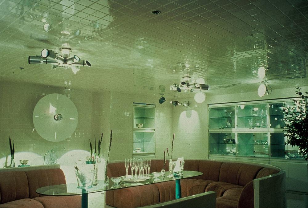 Installation of multi-beam Luminositors in Bloomingdales 1983 & BEAMO u2014 Jerry