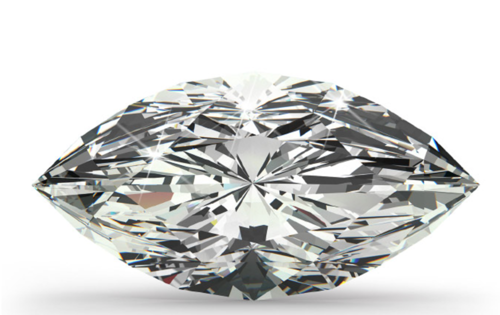 Marquise Cut   Named after a mistress of King Louis XV, whose mouth it was thought to resemble, this shape creates an illusion that the diamond is larger in size. It is important to watch for symmetry in marquise-shaped diamonds, even the slightest difference can make the diamond appear uneven and unbalanced. Length-to-width ratio is important if you want to really maximise carat weight.
