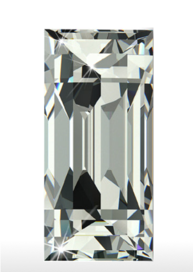 """Baguette Cut   The baguette cut.Named for the French word  baguette, which means """"long rod,"""" this cut became popular during the 1920′s, an era when the Art Deco movement encouraged geometric shape and symmetrical flow. Baguette cut diamonds tend to be small rectangular shaped diamonds commonly used as shoulder stones. They have very limited faceting and as a result are extremely clear stones"""