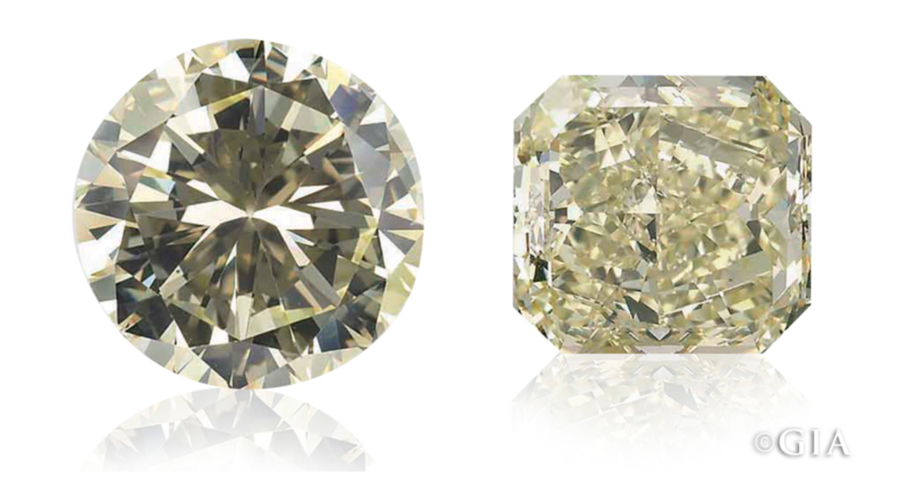 Yellow to Fancy... - This 6+ ct. round brilliant diamond (left) was graded in the W-X range of the D-to-Z scale, putting it in the light yellow range. When recut as a 4.61 radiant (right), it was graded Fancy yellow