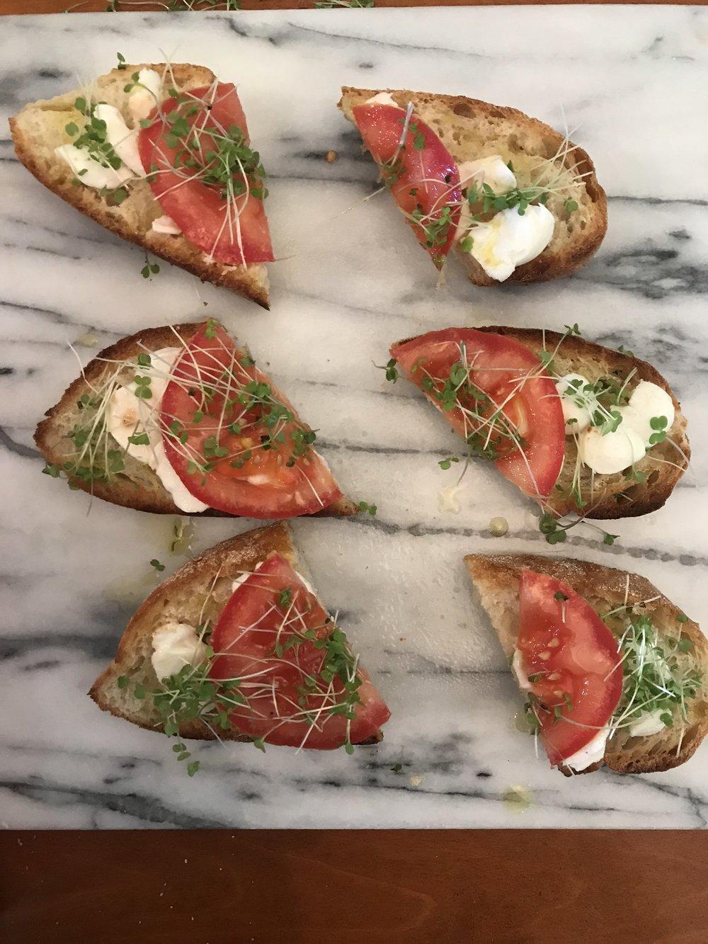 Arugula Microgreens Caprese Toast Appetizer