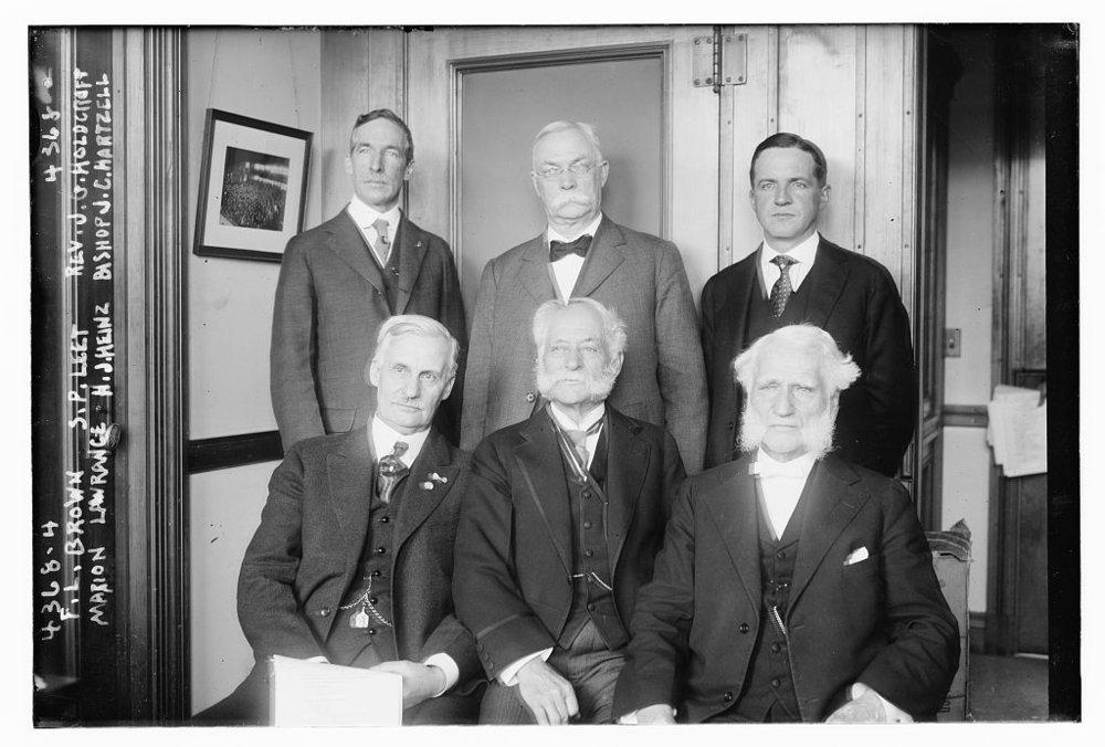 F.L._Brown,_S.P._Leet,_Rev._J.G._Holdcroft,_Marion_Lawrence,_H.J._Heinz,_Bishop_J.C._Hartzell_in_1917.jpg