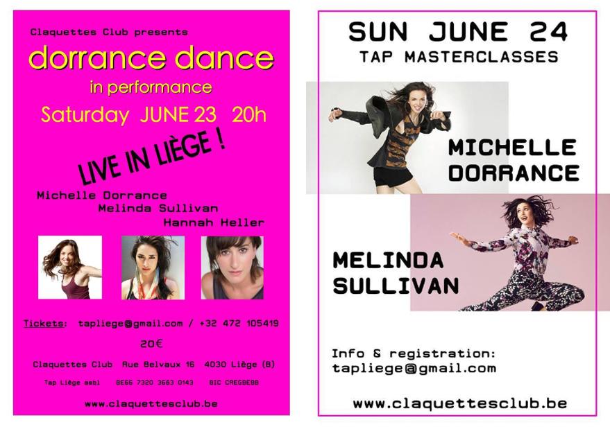 23-24 JUne 2018  Michelle Dorrance Workshop and Dorrance Dance in Liege!