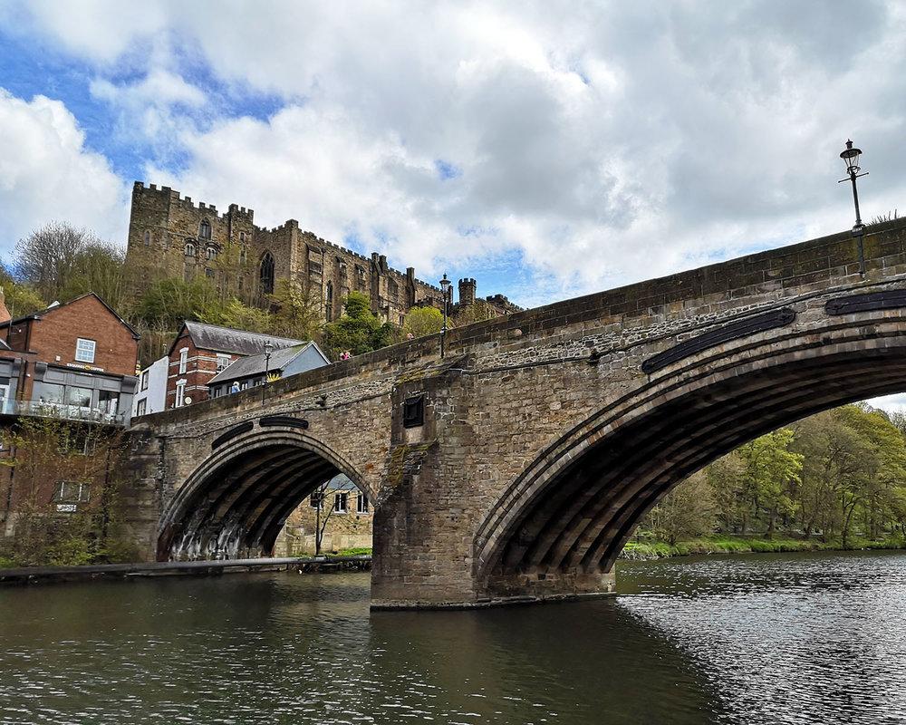 Framwellgate Bridge, Durham, with Durham Castle towering above it.