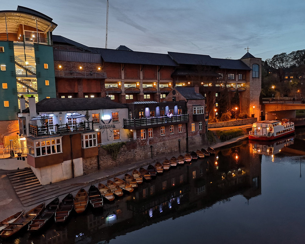 Early evening at the Boat Club on the River Wear below Framwellgate Bridge, Durham