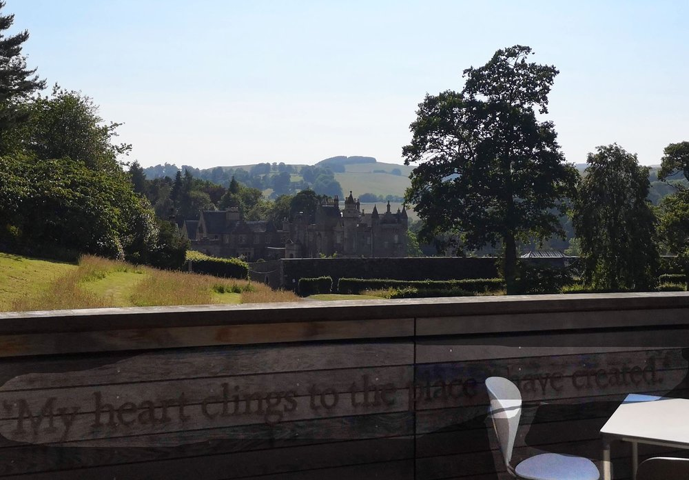 View from the cafe's balcony, with a quote from Sir Walter Scott (inevitably)