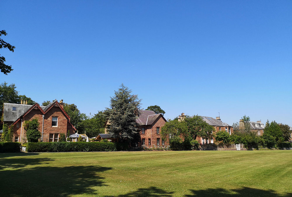 Houses overlooking St Boswells village green