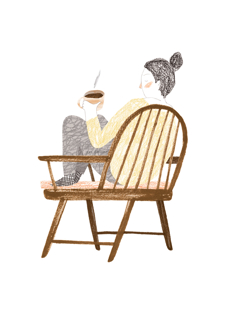 Illustration for Les Others: person sitting down in chair with a coffee