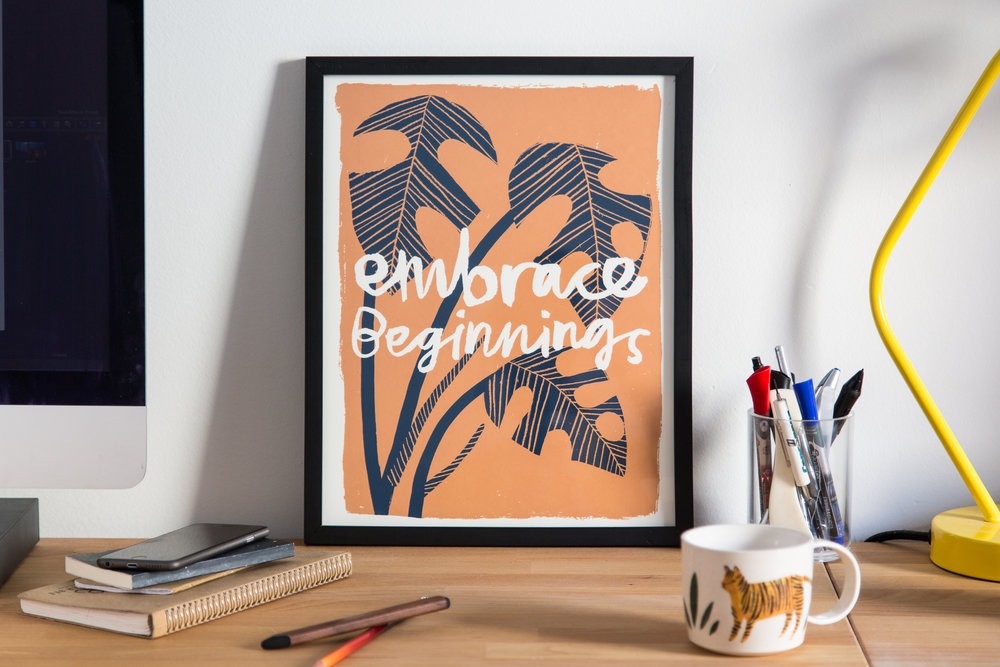 Embrace Beginnings screen-print design for Worker Bee Supply Co.