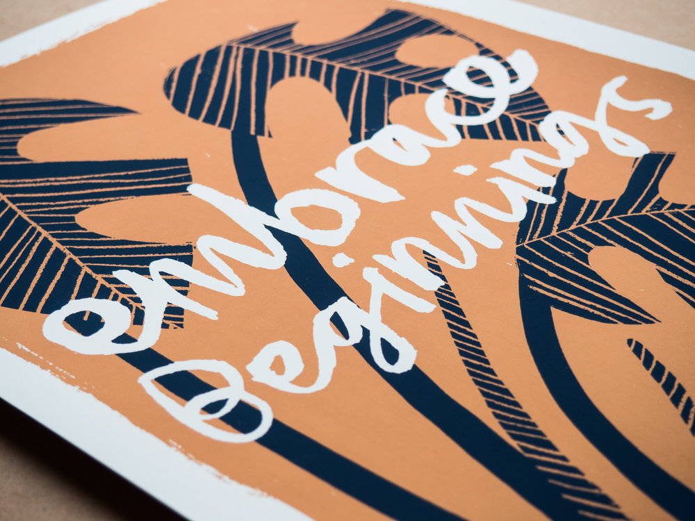Embrace Beginnings screen-print design for Worker Bee Supply Co. - detail of print