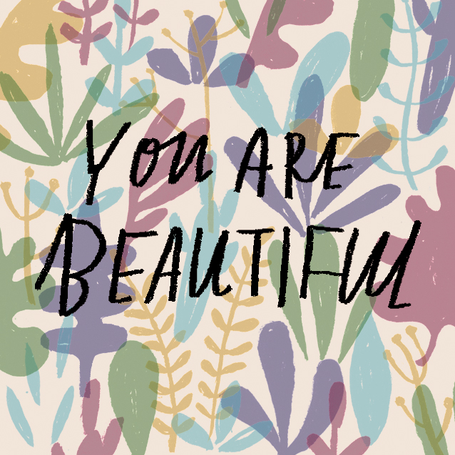 Illustrated sticker for You Are Beautiful