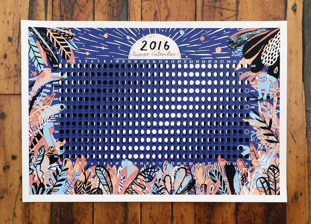 Screen-printed 2016 Lunar Calendar designed for Tiny Showcase