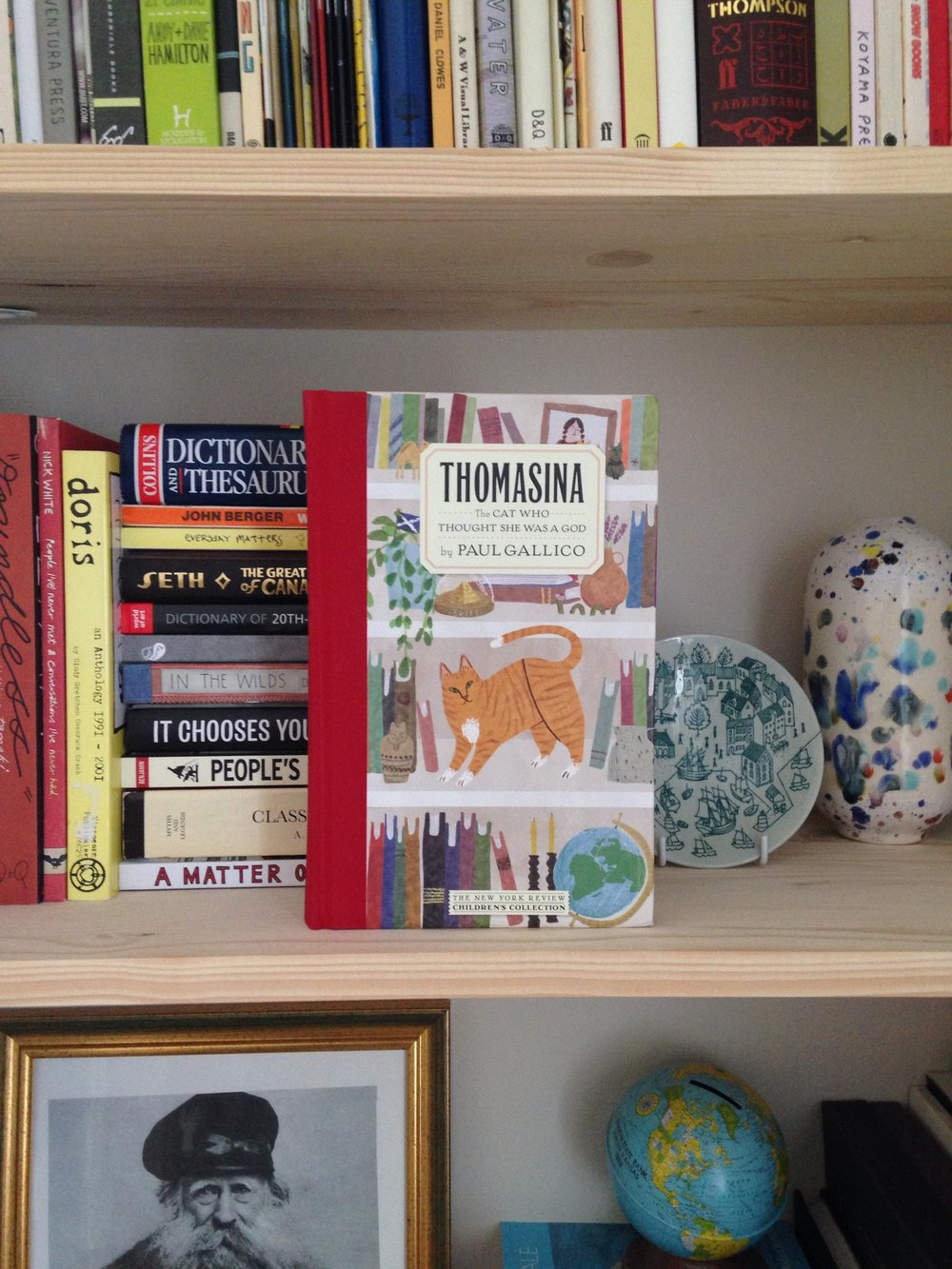 Thomasina - The Cat Who Thought She Was a God by Paul Gallico - hardcover book propped up on a bookshelf