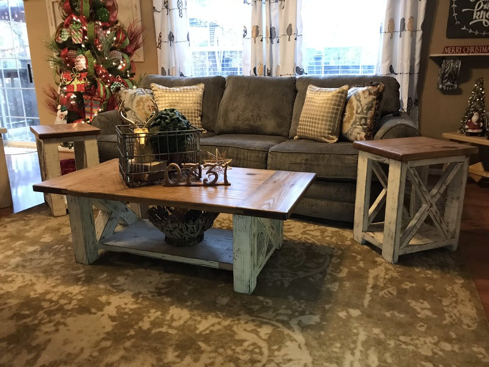 Chunky farmhouse coffee table and end tables