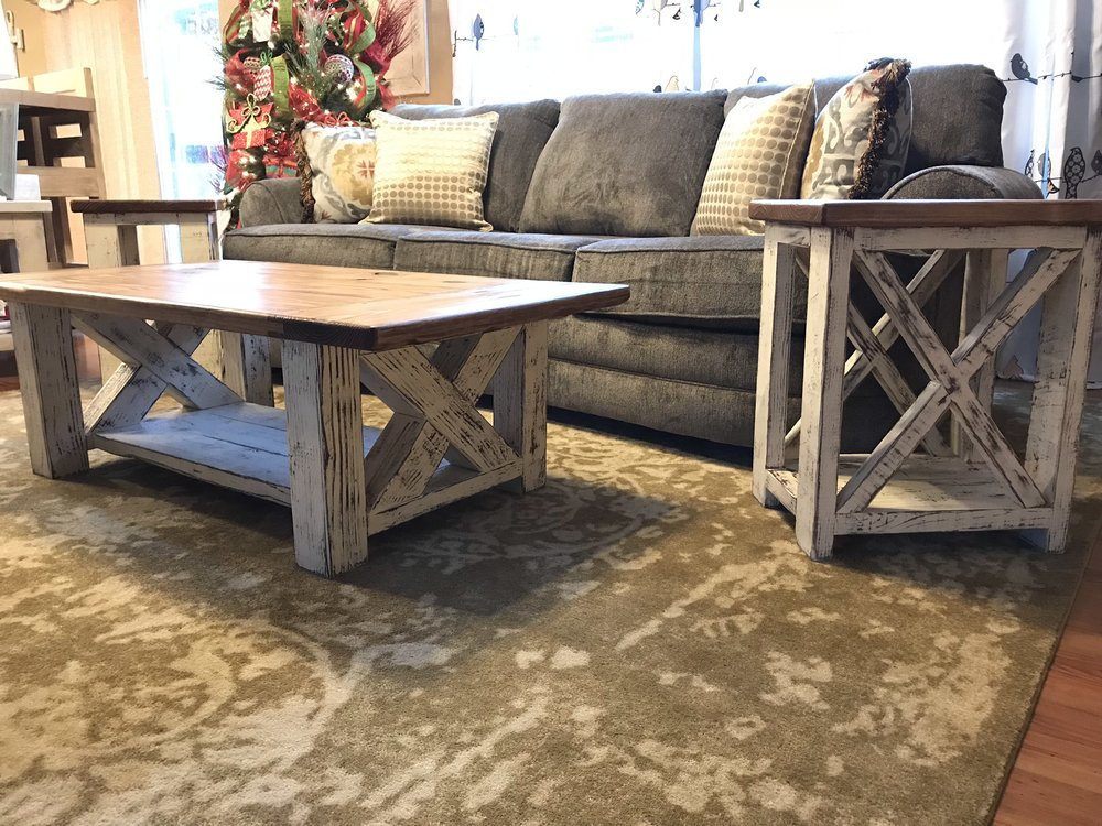 Distressed Coffee Table with Breadboard Ends