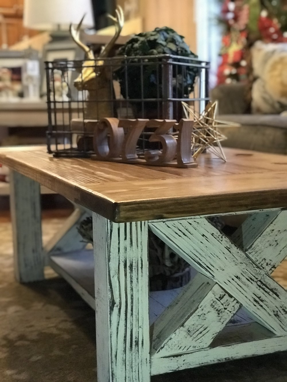 Chunky Farmhouse Coffee Table - Distressed