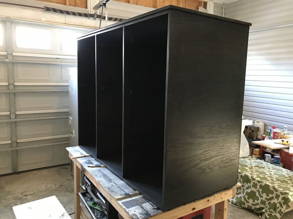 Laundry Sorter stained Rustoleum Ebony with General Finishes Clear Coat