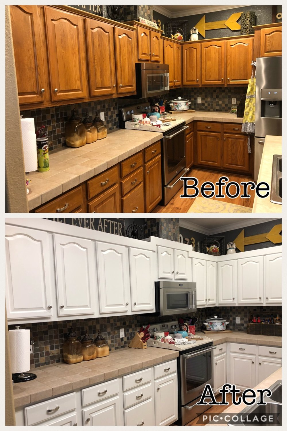 before and after kitchen cabinet paint