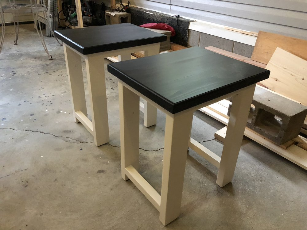 Side table with ebony stained top.
