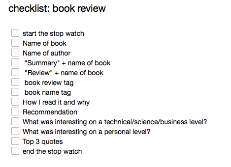 Book review checklist