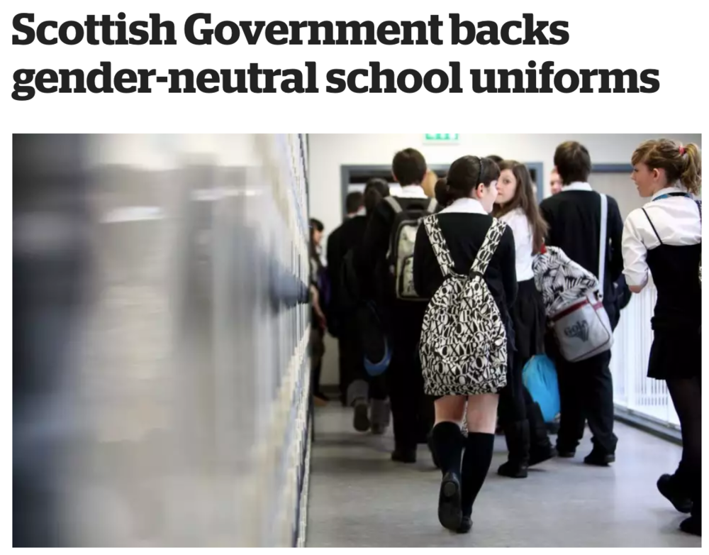 Read:  Scottish Government backs gender neutral uniforms  inews