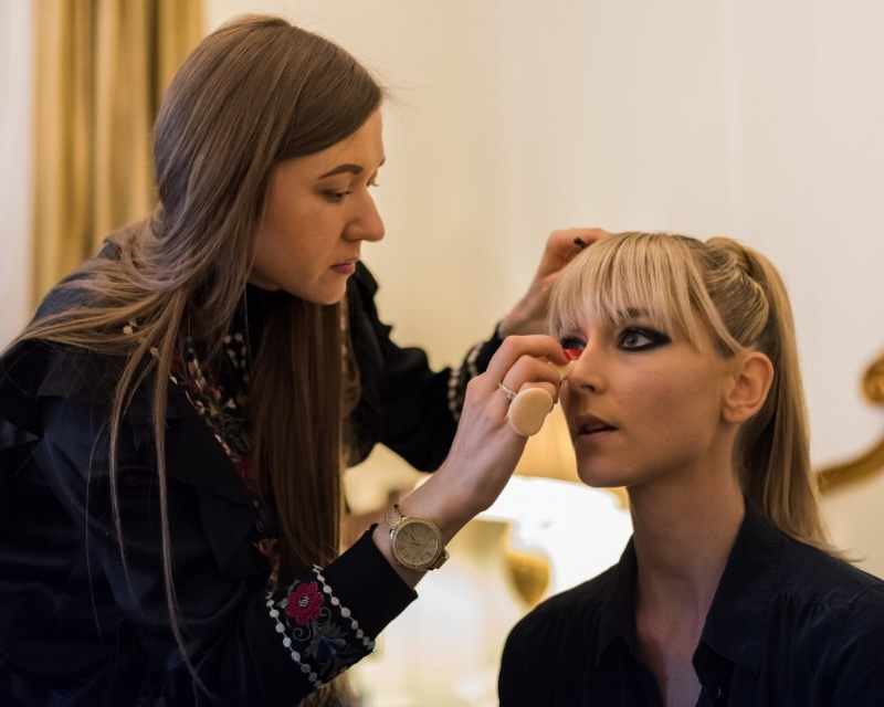 Elena at work preparing a model for the Exalt New York Fashion Gala