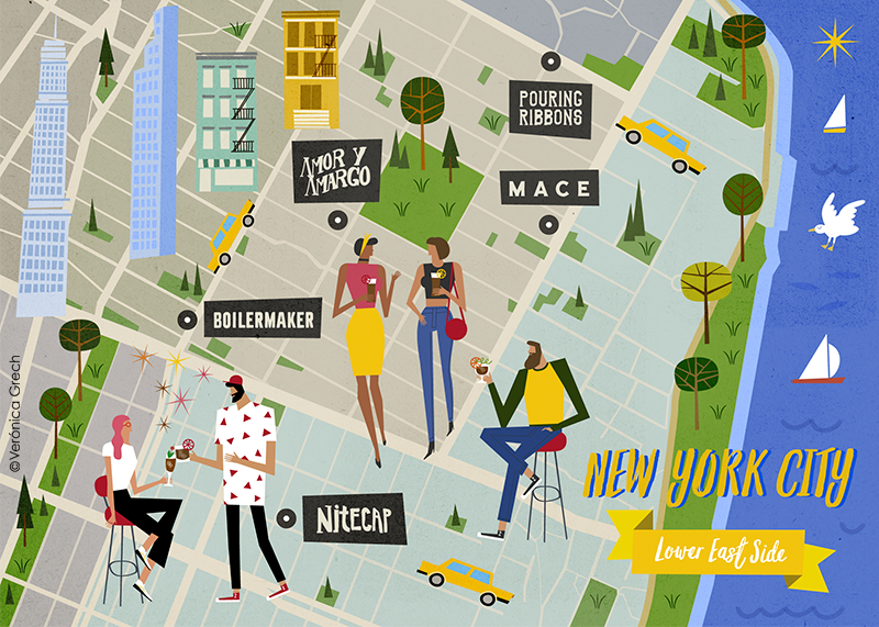 Maps Ny And San Francisco Veronica Grech Illustration